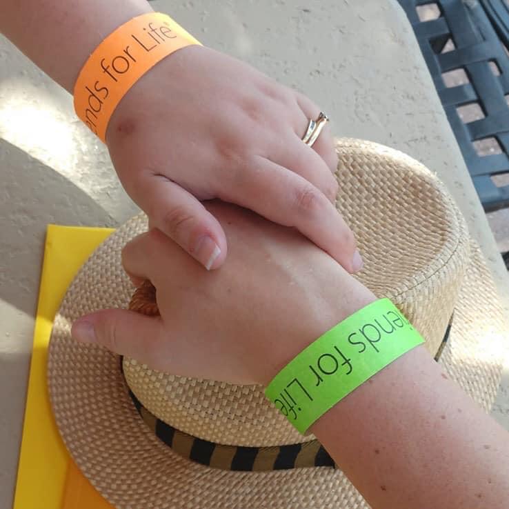 Green and Orange Bracelet with FFL Program Crop Square